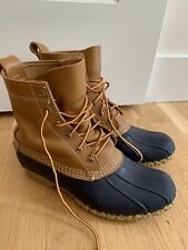 LL Bean Classic Duck Hunting Boots Leather Rubber Brown Blue Womens 9 M