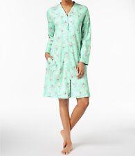 Charter Club Plus Size Women's Cotton Knit Robe Green Wild Flowers XXL