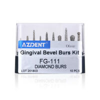 AZDENT Dental Diamond Burs Kit FG-111 for Gingival Bevel Protection 10 pcs/kit