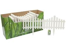 6 X 59CM LENGTHS WHITE PICKET PLASTIC LAWN EDGING MINI FANCY FENCING