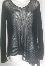 Eileen Fisher Black Sweater Extra Small XS Asymmetrical Hem Airy Linen Rib NWT