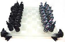 Fantasy Dragon Glass Chess Set Unusual Collectable Figures Myth Magic Board Game