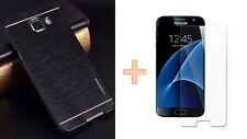 Coque Rigide Aluminium Noir Black + Film Verre Trempé HD Samsung Galaxy j3 2016