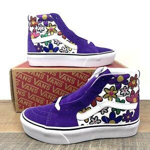 Vans Sk8 Hi Platform 2 Skate Shoes Glitter Daisies Flowers Purple Multiple Sizes