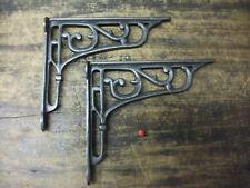 "Pair 8"" / 20cm Cast Iron Edwardian Scroll Wall Shelf Brackets decorative SALE"