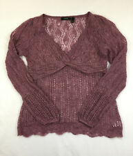 GNW Women's Size S Purple Mohair Blend Long Sleeve Pull Over Boho Sweater