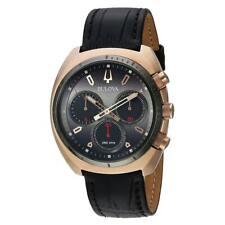 Bulova Men's Watch Curv Chronograph Grey Dial Black Leather Strap 98A156