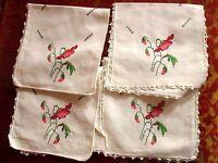 Lot of 4 Sets 14x7' Vtg Irish Linen Napkins Embroidered Crocheted Trim -