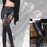 Women's Gothic Punk Pants Sexy Leggings Pants Lace Faux Leather Jeggings Pa N8S4