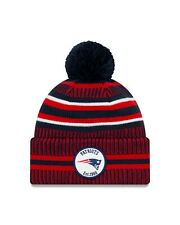 NEW ERA ENGLAND PATRIOTS SIDELINE BOBBLE HAT.NFL LINED COLD WEATHER BEANIE 9W 26