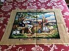 """Large completed vintage needlepoint - shepherds and flock 23 1/4"""" x 17 3/4"""" (GC8"""