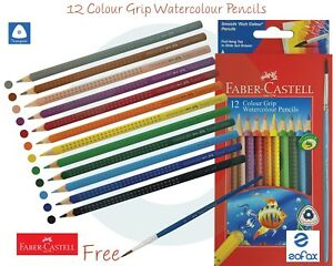 FABER CASTELL 12 Shades Water Colour Triangular Easy Grip Pencils + Free Brush