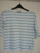 CREW CLOTHING WHITE BLUE STRIPED JERSEY 3/4 SLEEVE TOP. UK 10, EUR 36-38, US 6