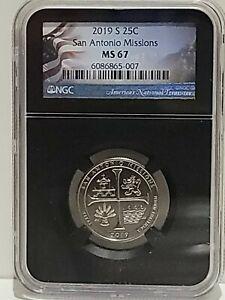 2019-S San Antonio Missions NP Quarter 25c NGC MS 67