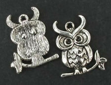 10 Owl Tibetan Zinc Alloy Lead Free Loose Silver Beads Charms Jewelry Craft