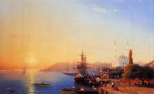 Oil Ivan Constantinovich Aivazovsky Panorama of Constantinopole seascape harbor