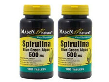 2 X 100 = 200 tablets SPIRULINA 500 mg BLUE GREEN ALGAE 100% PURE NATURAL