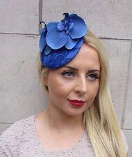Royal Blue Orchid Flower Fascinator Hat Races Headpiece Hair Clip Vintage 3196