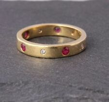 Wedding Band Yellow Gold Ruby Fine Rings