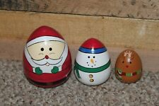 Adorable Santa Snowman Reindeer Nesting Doll Set 4 In To 2 In Height