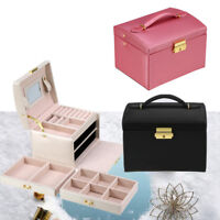 Jewelry Storage Organizer Box PU Leather Earring Necklace Display Case Cabinet
