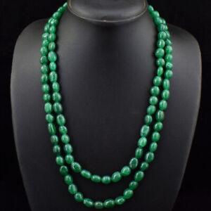 410.00 Cts Earth Mined 2 Line Green Emerald Oval Shape Beads Necklace JK 27E165