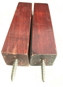 """Vintage 6"""" Hardwood Tapered Sofa/Couch/Chair Furniture Wood Legs - Set of 2"""