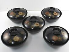 5 BLACK LAQUER WARE JAPANESE RICE NOODLE BOWLS Hand Painted Lacquerware