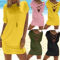 Womens Casual Solid O-Neck Above Knee Dress Short Sleeve Loose Beach Mini Dress