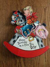 Vtg Hallmark Birthday Card Die Cut Mechanical Cowboy Rocking Horse c1940s~Used