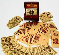 24K Gold Plated Playing Poker Cards & Mahogany Wooden Box New Waterproof Plastic