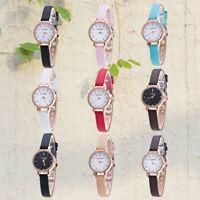 Fashion Women Girls Stainless Steel Leather Quartz Analog Rhinestone Wrist Watch