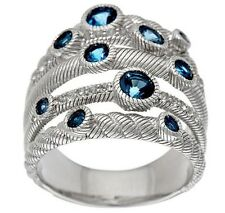 Judith Ripka Sterling London Blue 5 Band Ring Size 10 NEW IN J. RIPKA BOX
