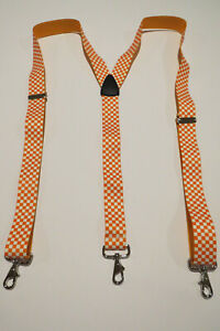 Made in USA.  MENS Suspenders ORANGE/WHITE CHECKER BUTTON ON, Clips, Snap Ons