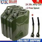 2x 20l Metal Fuel Jerry Can Green Car Diesel Petrol Oil Tank + 2 Flexible Spout