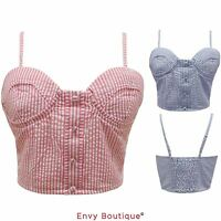 NEW WOMENS LADIES CANDY STRIPE PRINT PADDED BOOB TUBE BRALET STRAP BRA CROP TOP