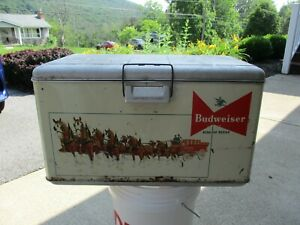 Vintage 1950's Budweiser  Clydesdale Graphic Metal Cooler ~King of Beers~