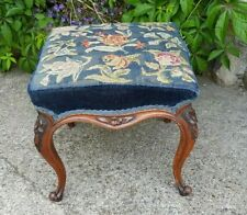 Victorian / Edwardian Carved Foot Stool Needlepoint Tapestry
