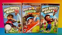 Hot Shots Golf Open Tee 1, 2, + Tennis Get a Grip  Sony PSP Playstation Portable