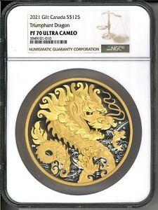 2021 Canada $125 Triumphant Dragon 500g (1/2 Kilo) .9999 Silver Coin - NGC PF 70
