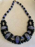 "Vintage Black And Midnight Purple Plastic Beaded Necklace Retro - Boho ~ 20"""