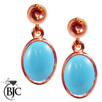 BJC® 9ct Rose Gold Natural Turquoise Oval Single Drop Dangling Studs Earrings