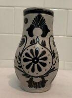 Vintage Williamsburg Restoration Cobalt Blue & Gray Salt Glaze Pottery Pitcher