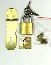 "2.5"" Brass Hasp + 1"" Padlock Set  Hardware Good for Door Cabinets and Boxes"