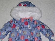 Baby Girls Thick Warm Lined Kitten Cat Snowsuit/Mittens Faux Fur Trim 3-6 months