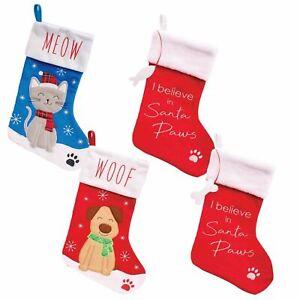 PET CHRISTMAS STOCKING DOG CAT XMAS GIFT PRESENT PLUSH OR HESSIAN QUALITY UK