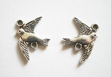 5 Metal Antique Silver Swallow/ Bird Charms Connectors - 16mm