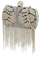 US3005 ALEXANDER McQUEEN SEQUINED BOX CLUTCH WITH FRINGE & SHOULDER CHAIN