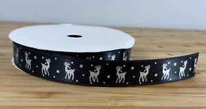 Thin Reindeer Christmas ribbon Black & Silver xmas festive crafts SOLD PER METER