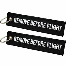 Black 'Remove Before Flight' Keyring / Keychain / Luggage Tag x 2 | High Quality